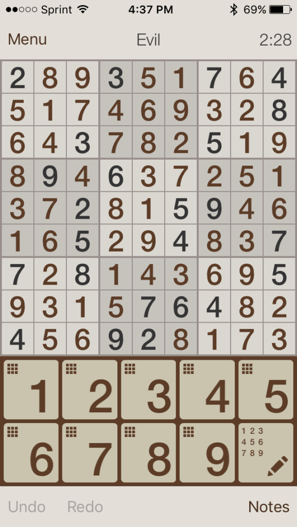 One of my better Sudoku scores.