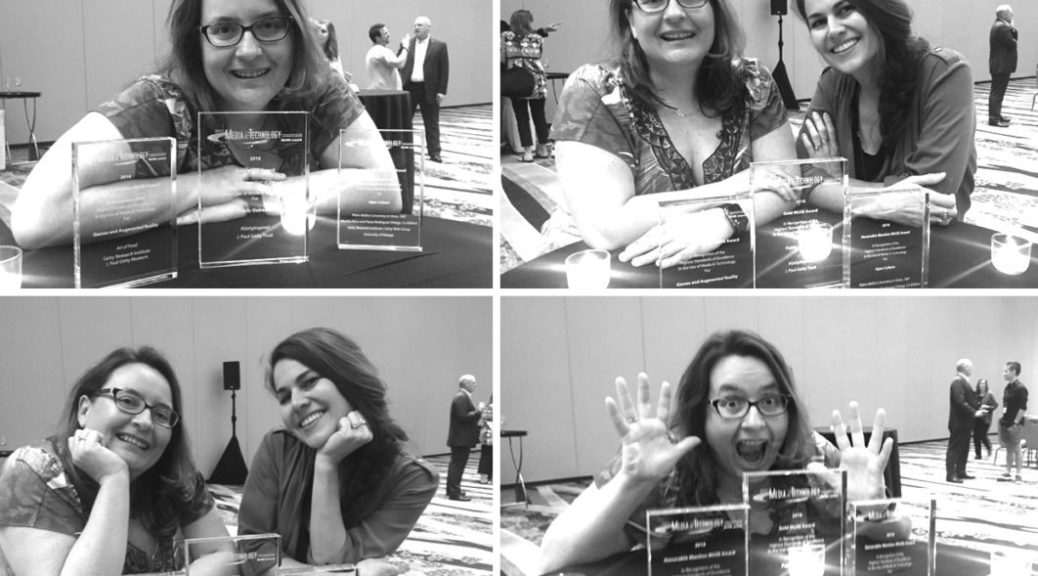 Collage of four images of me and my colleague Alicia posing with the three awards.